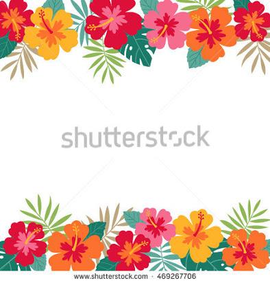 hibiscus border clip art free.