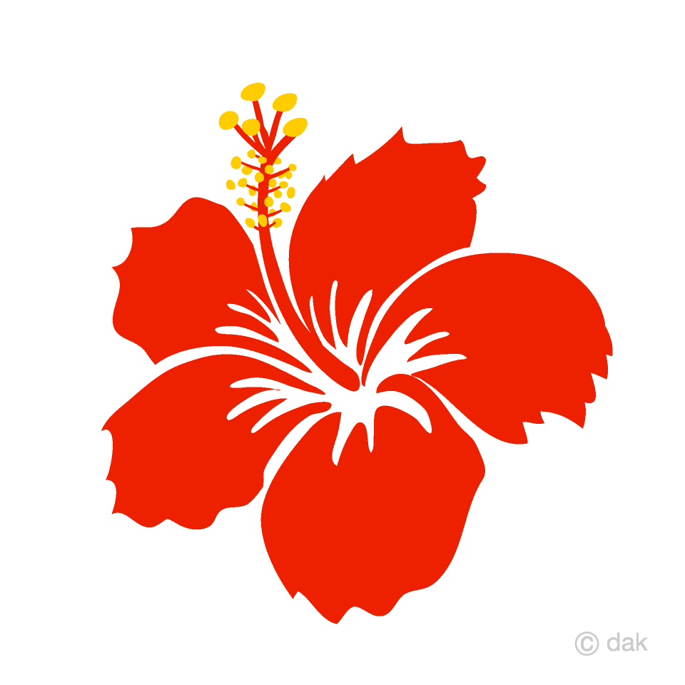 Free Red Hibiscus Flower Clipart Image|Illustoon.