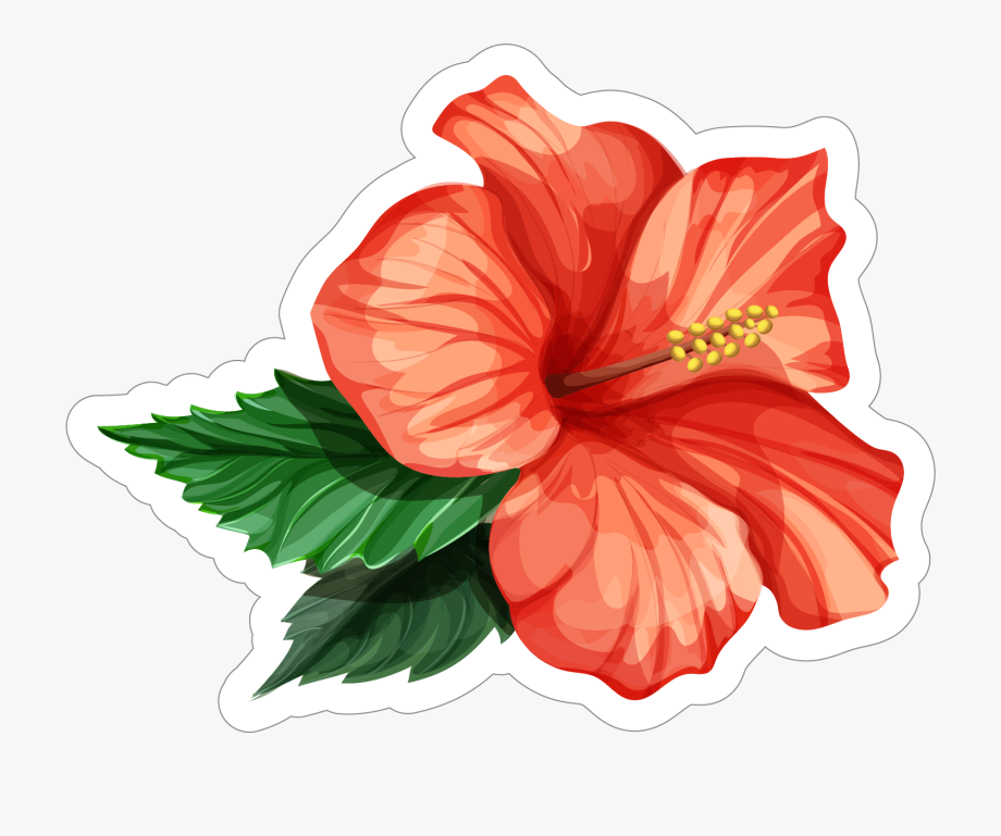 Red Hibiscus Flower Sticker.