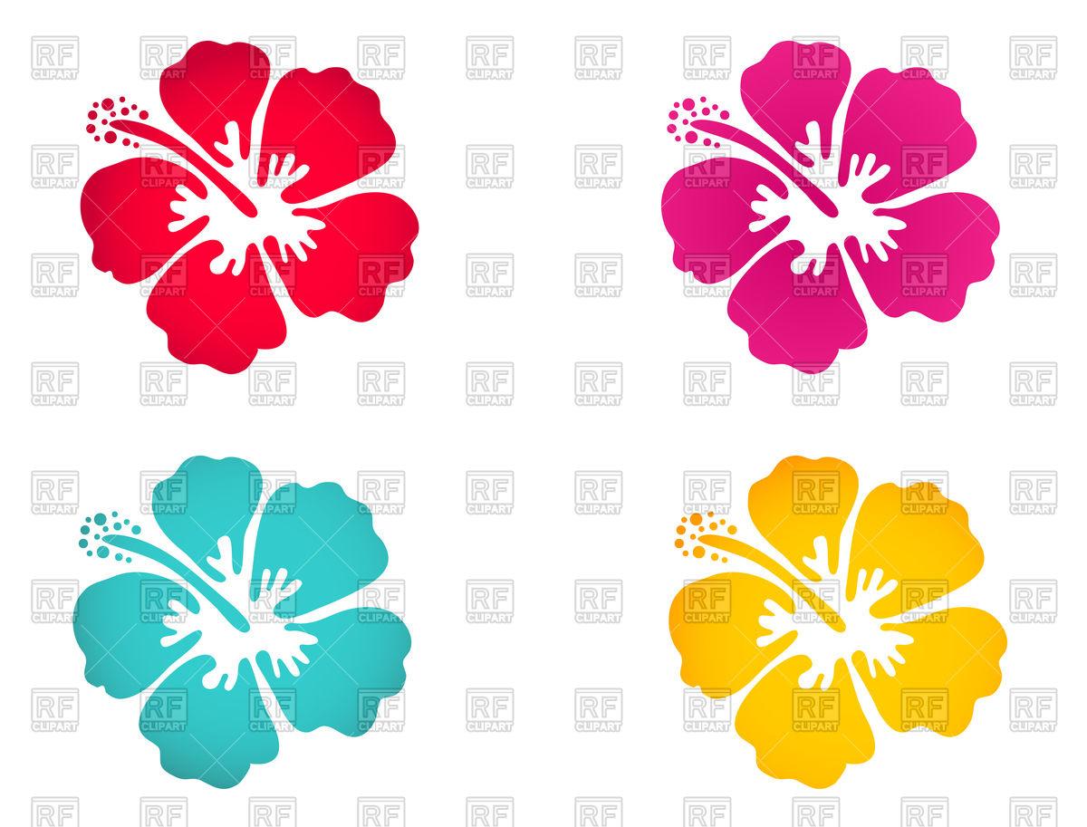 Hibiscus flower icon set Stock Vector Image.