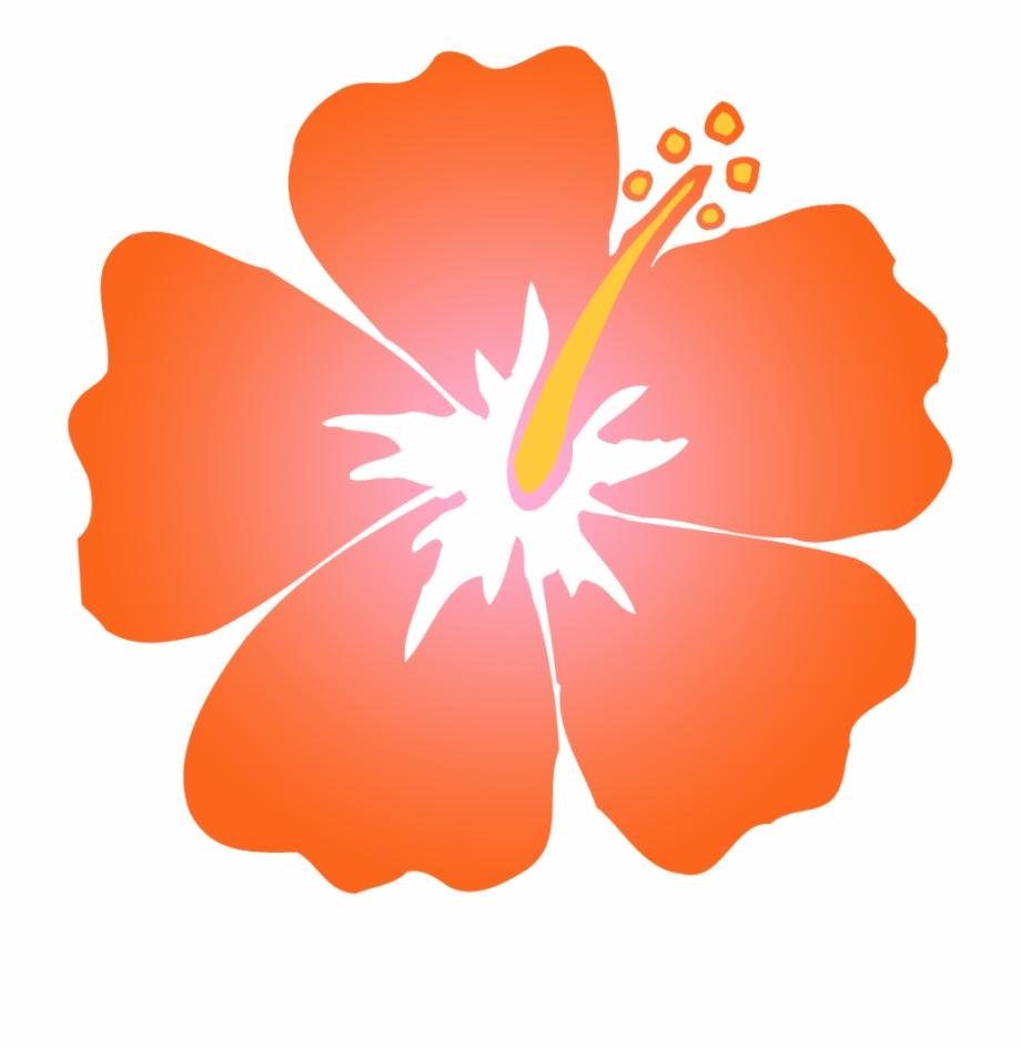 Red Hibiscus Flower Clip Art Orange Clipart.