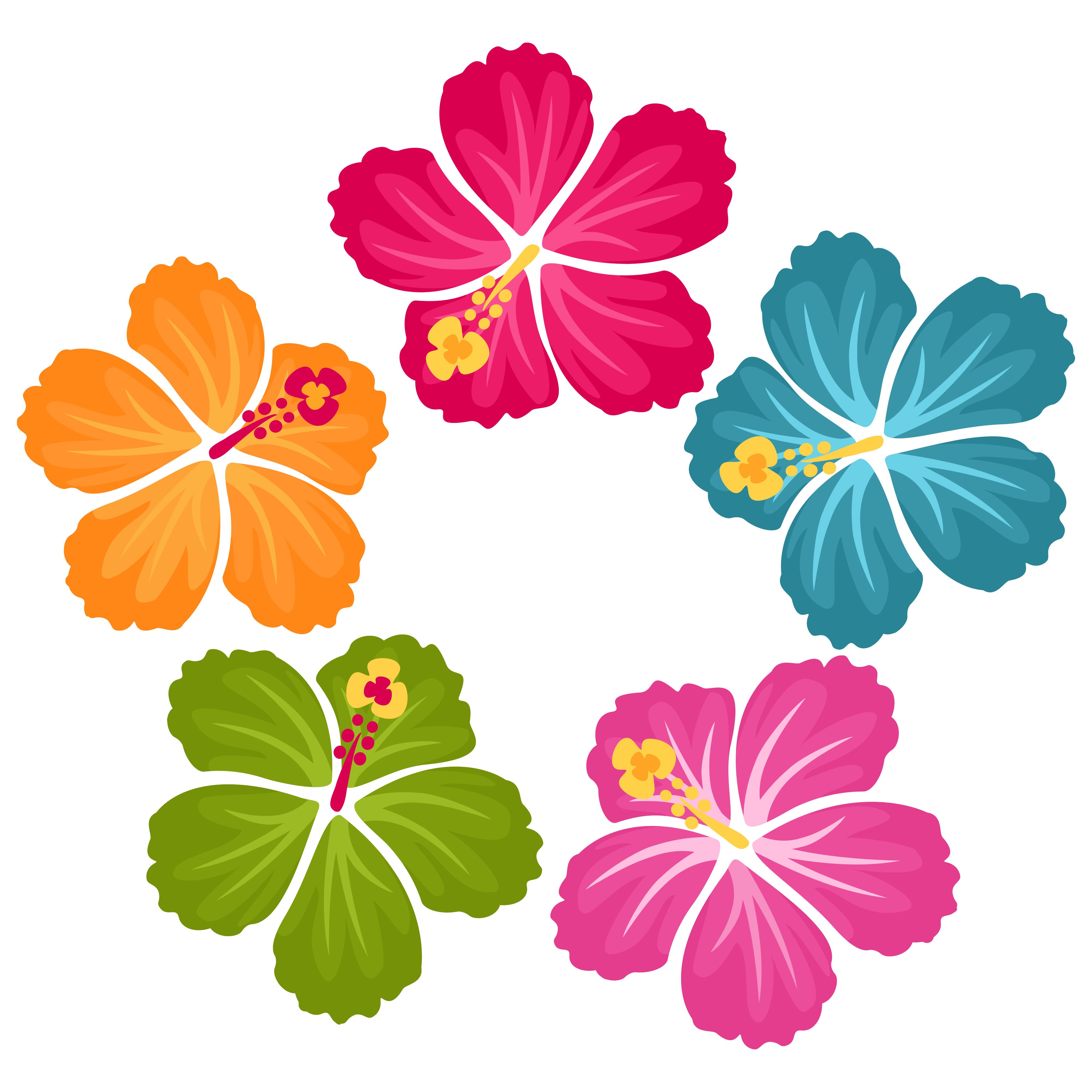 Hibiscus Flowers Clip Art Freebie.