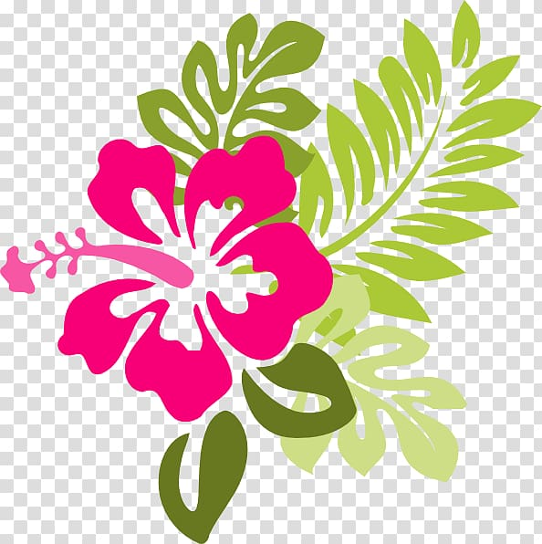 Pink hibiscus flower and green leaves art, Hawaiian Flower.