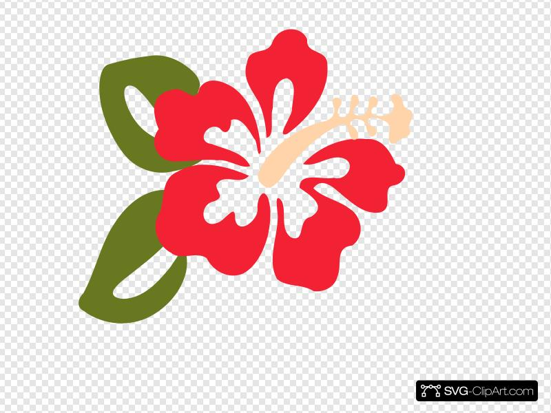 Red Hibiscus Two Leaves Clip art, Icon and SVG.