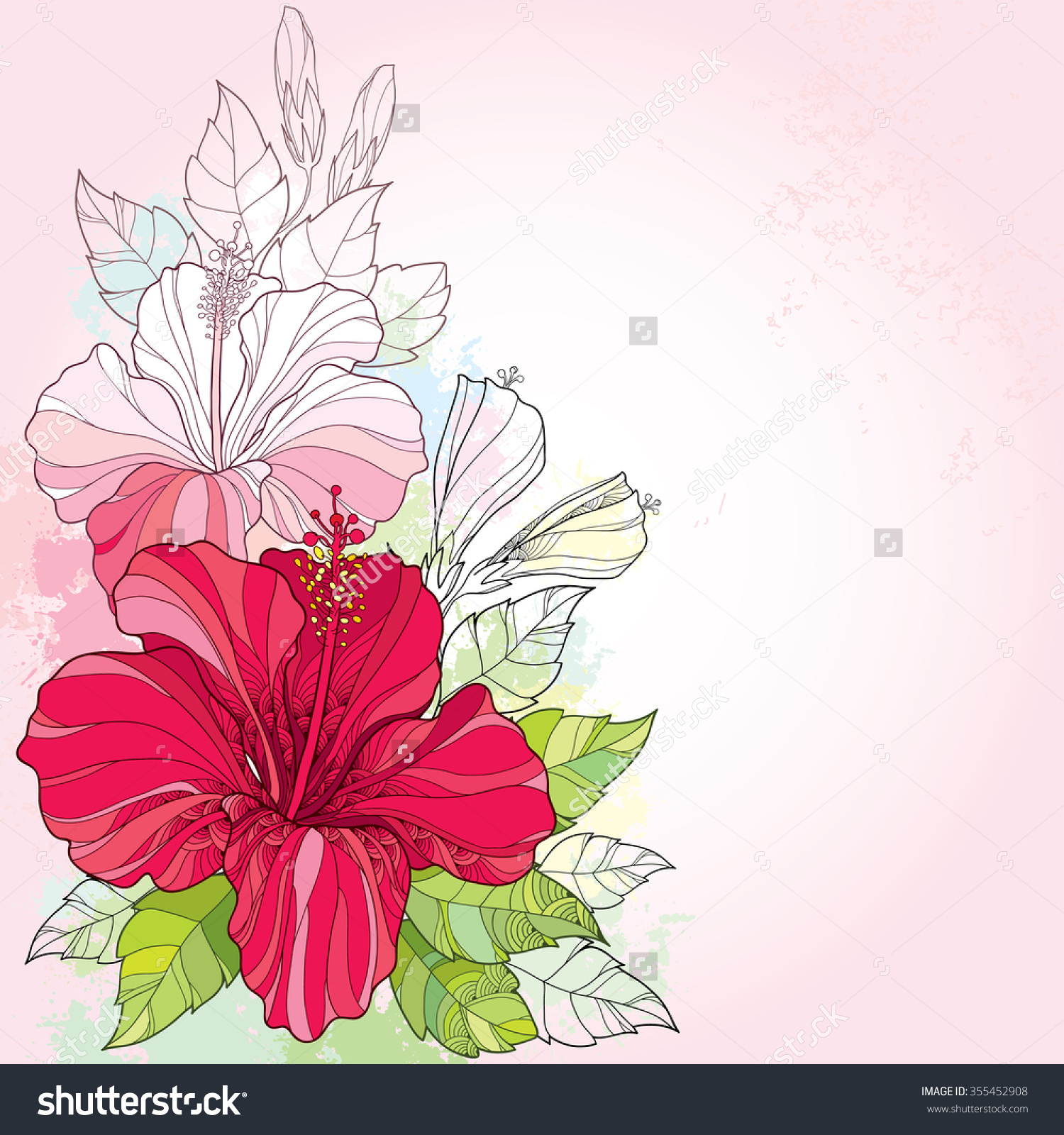 Bouquet Chinese Hibiscus Hibiscus Rosasinensis Leaves Stock Vector.