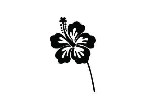 Free Hibiscus Flower Silhouette Vector.