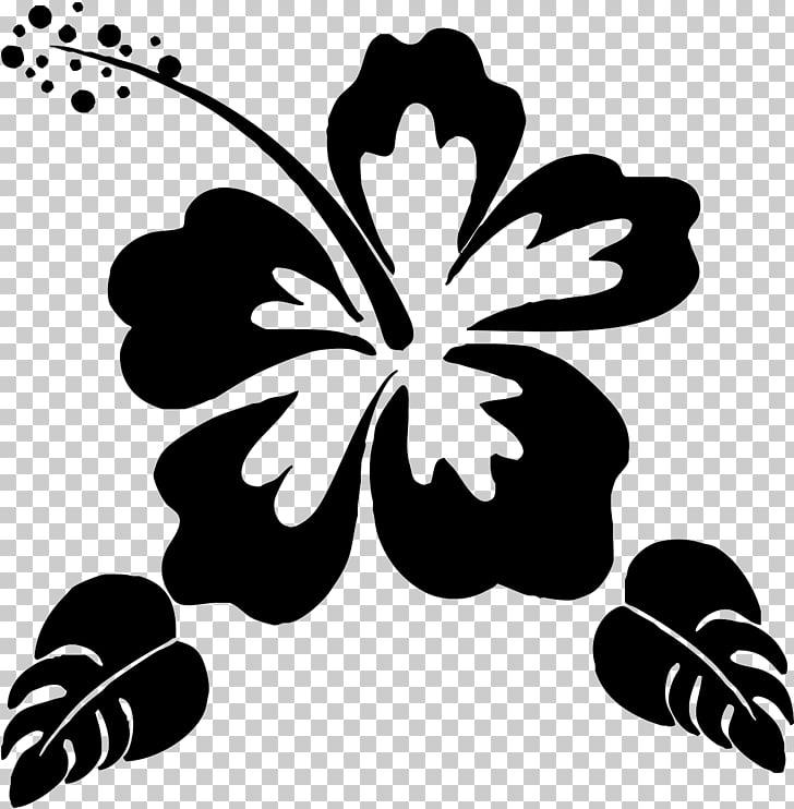 Silhouette Flower Stencil , Hawaii flower, hibiscus art PNG.