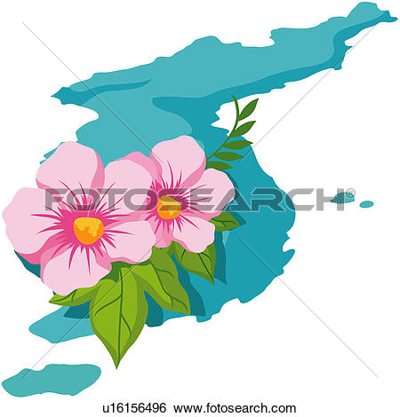 Clip Art of patriotic sentiment, althea, national flower, plant.