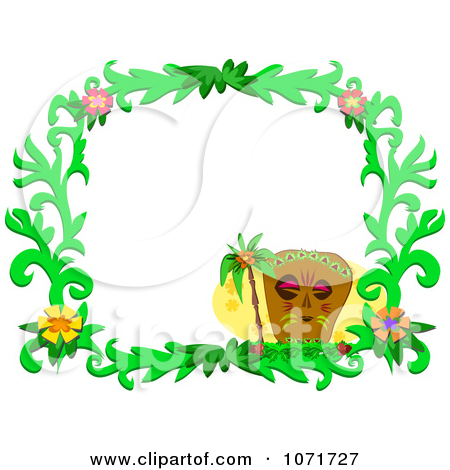 Clipart Tiki Hibiscus Flower And Palm Tree Frame.