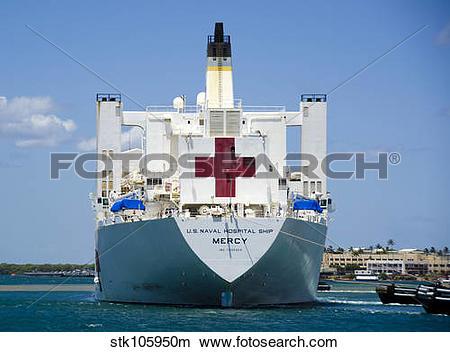 Stock Photo of Hospital ship USNS Mercy at Joint Base Pearl Harbor.