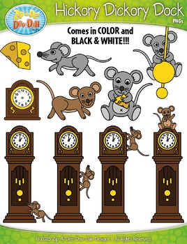Hickory Dickory Dock Nursery Rhyme Clipart {Zip.