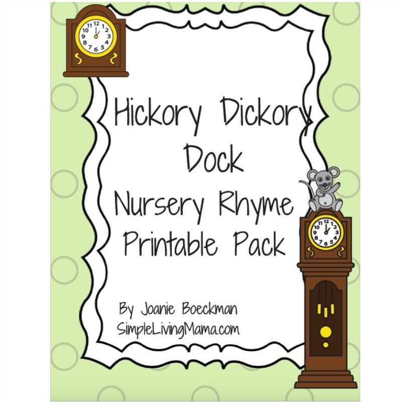 Hickory Dickory Dock Nursery Rhyme Printable Pack.