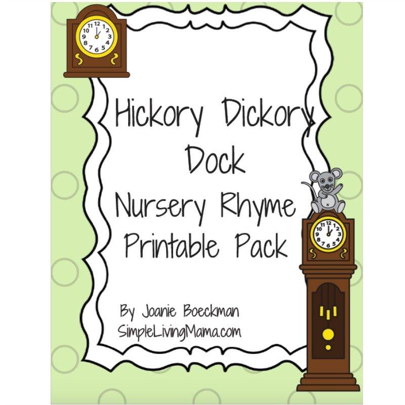 Hickory Dickory Dock Nursery Rhyme Printable Pack.