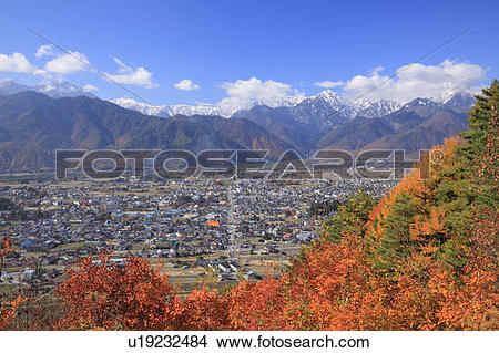 Stock Photo of Hida mountains and Japanese fall foliage, Nagano.