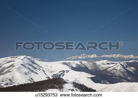 Stock Photo of Mt. Kuruma and Hida mountains, Nagano Prefecture.