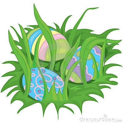 Easter Egg Grass Border Stock Images.