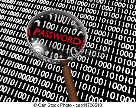 Clipart of Hidden Numeric Password in Plenty of Binary Digits.