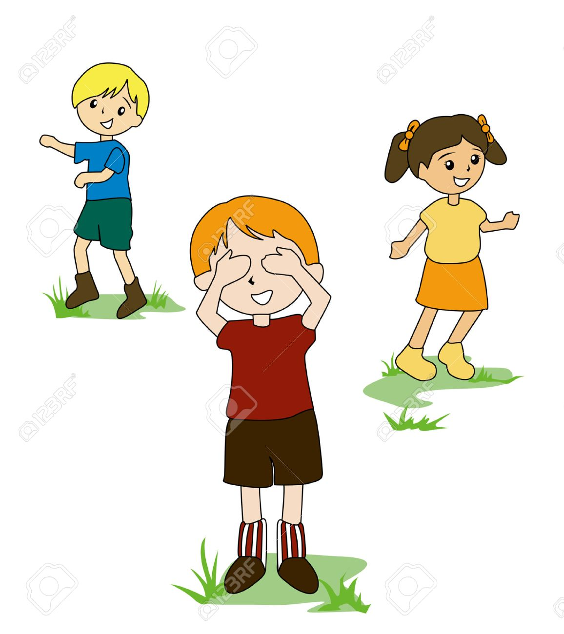 Kids Playing Hide And Seek Clipart.
