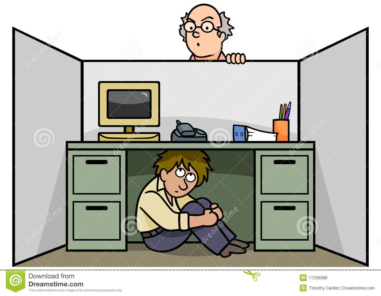 Hiding Under Desk Clipart.