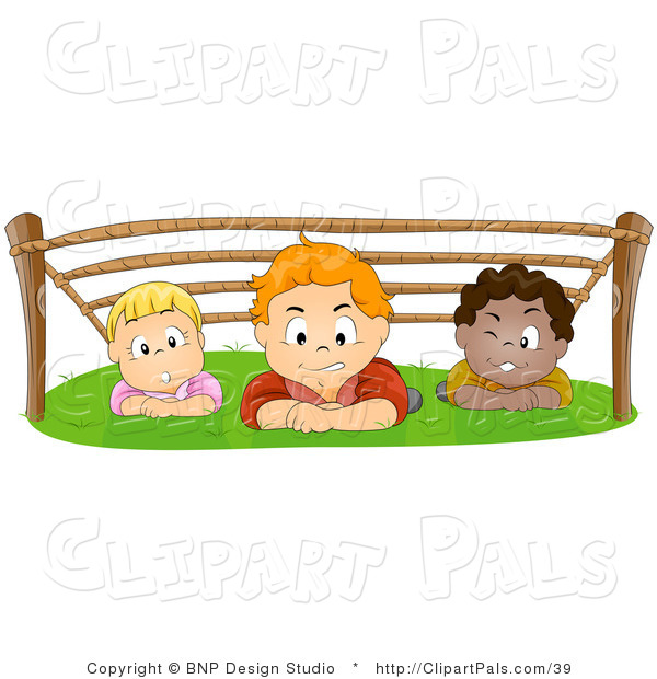 Pal Vector Clipart of a Group of Kids Hiding out and Crawling.
