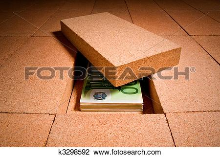 Stock Photo of cash in hiding place k3298592.