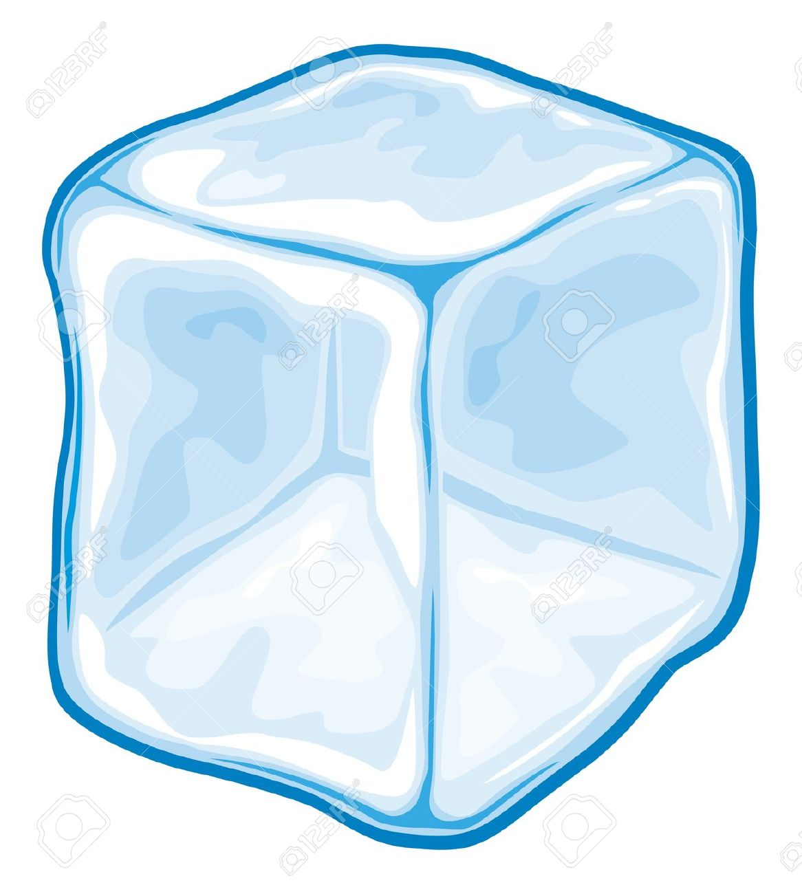 Ice Cubes In Water Clipart.