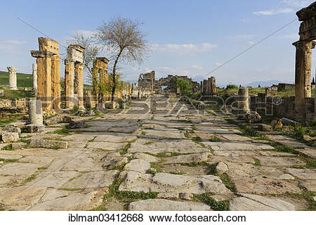 """Pictures of """"Street with colonnade, ancient city of Hierapolis."""