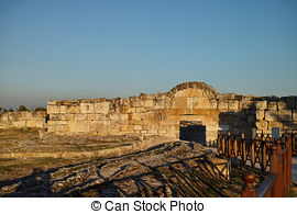 Stock Photo of Ancient ruins in Hierapolis, Pamukkale, Turkey.