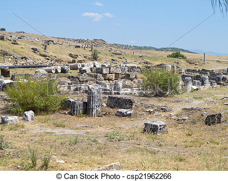 Stock Image of Ruins of the ancient city of Hierapolis and blue.