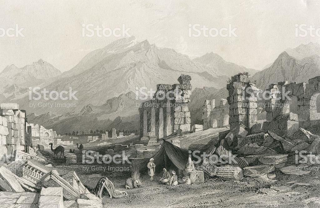 Gravur Of Hierapolis Pamukkale Denizli Turkey stock vector art.