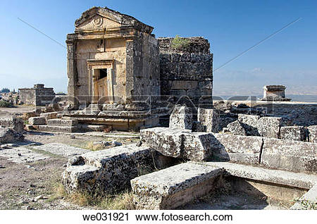 Stock Photography of The Necropolis in the ruins of Hierapolis.