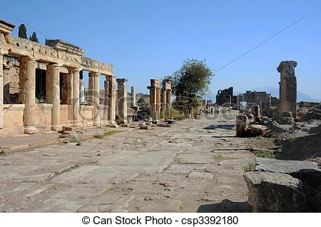 Stock Photography of Frontinus Street in Hierapolis.