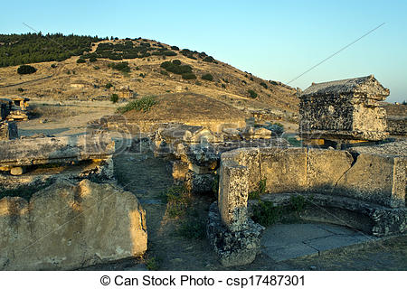 Stock Photography of Ruins of ancient city Hierapolis, Turkey.