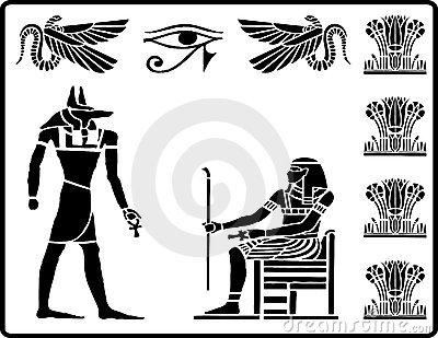 Ancient Egyptian Hieroglyphs Stock Images.