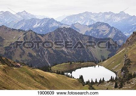 Stock Photograph of high angle view of a mountain lake and alpine.