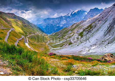 Stock Photo of View from the top of famous Italian Stelvio High.