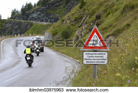 "Stock Photo of ""Warning sign """"""""Caution marmots"""""""" on the."