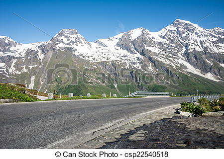 Stock Photography of High Alpine Road.