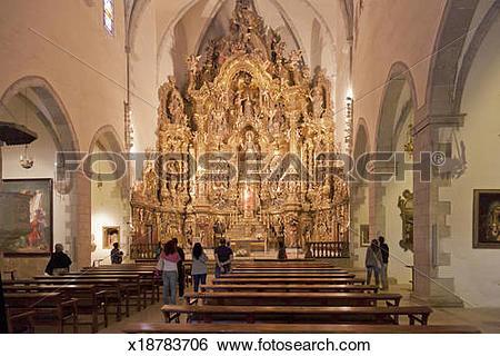 Stock Images of High Altar Santa Maria Cadaques Costa Brava.