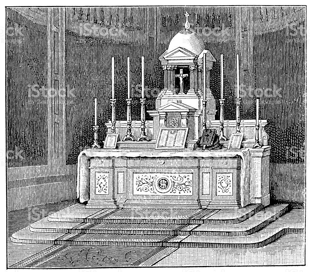 Antique Illustration Of Church High Altar stock vector art.