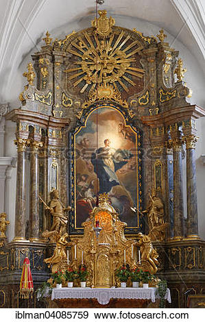Stock Photograph of High altar with painting Immaculate Conception.