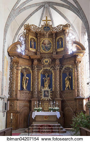 Stock Photo of High altar, pilgrimage church of St. Wolfgang.
