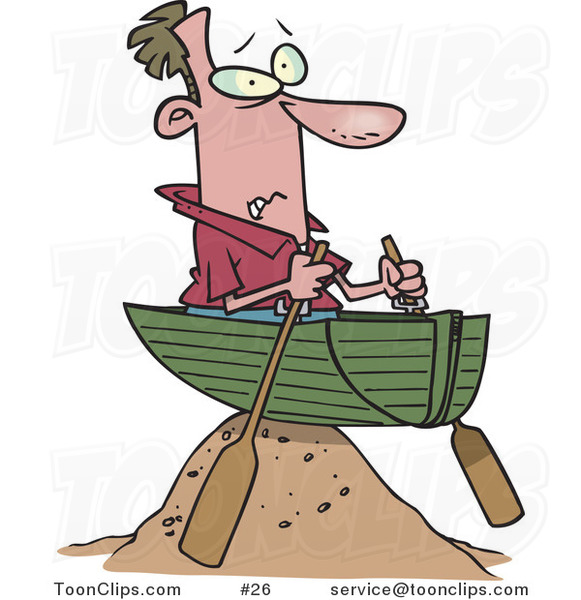 Cartoon Guy in a Boat on a Sandy Hill, Left High and Dry #26 by.