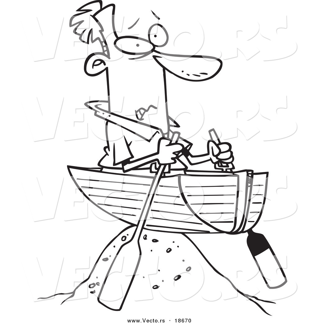 Vector of a Cartoon Man Left High and Dry in a Boat.