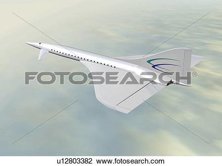 Clip Art of Imaginary aircraft, Illustration, CG, High Angle View.