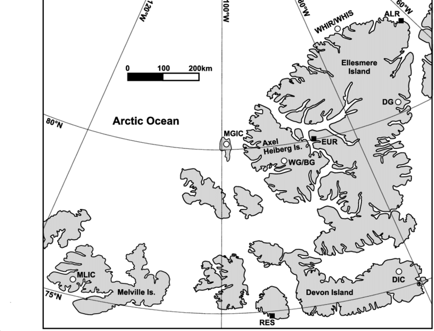Canadian High Arctic archipelago. Glaciers with long.