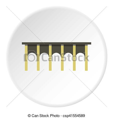 Stock Illustration of High bridge icon, flat style.