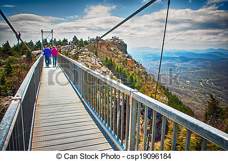 Pictures of on top of grandfather mountain mile high bridge in nc.