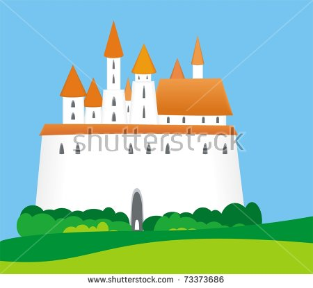 Illustration Cartoon Fantasy Fairytale Medieval Castle Stock.