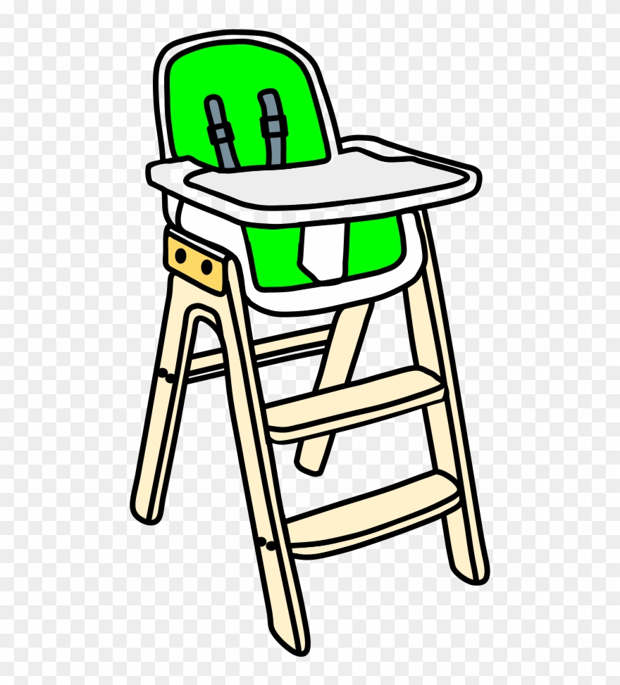 High Chair, White Tray, Blond Wood, Steps, Bright Green Clipart.